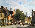 Eversen Adrianus - Figures In Sunlit Streets of Dutch Town.jpg