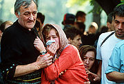 A funeral during the Siege of Sarajevo in 1992
