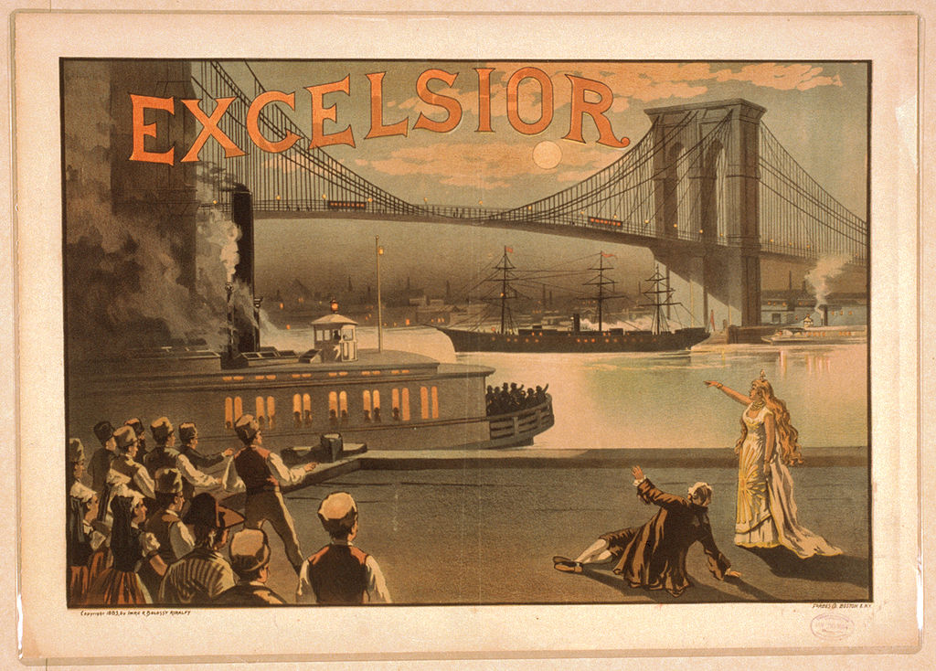 file excelsior poster 1883 brooklyn bridge new york wikimedia commons. Black Bedroom Furniture Sets. Home Design Ideas