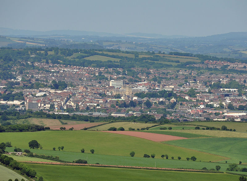 A view to Exeter in Devon, from the top of Haldon Belvedere. The cathedral is in the centre of the image.