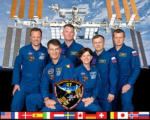 English: Expedition 27 crew members take a bre...