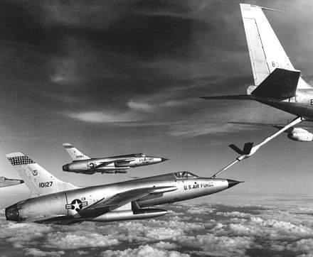 F-105 Thunderchiefs refueling by a flying boom. - Aerial refueling