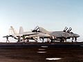 F-4S of VF-302 and F-18A of VX-5 on aircraft carrier 1982.jpg