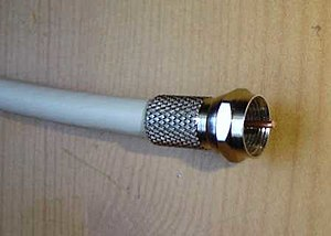 Coaxial cable - A male F-type connector used with common RG-6 cable