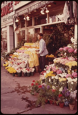 Third Avenue - A Third Avenue flower shop in the 1970s