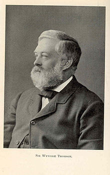 Black and white portrait photograph of Sir Charles Wyville Thomson taken in 2934. He is smartly dressed and has a beard.