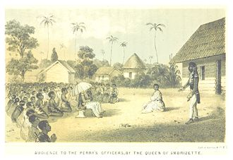 USS Perry (1843) - USS Perry officers on a visit in the African Kingdom of Ambrizette, Congo - an audience with the Queen.