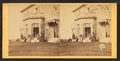 Family posing in front and in the balcony of stone house, from Robert N. Dennis collection of stereoscopic views 11.png