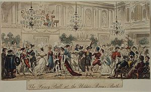 Bath Assembly Rooms - Fancy Dress Ball at the Bath Assembly Rooms by Thomas Rowlandson