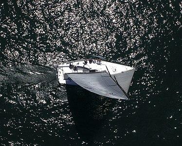 A Farr 40 sailboat racing off Newport Beach