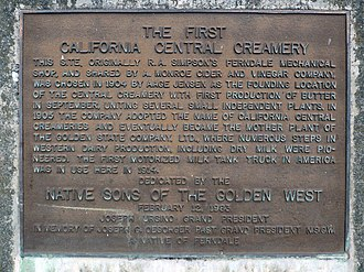 Native Sons of the Golden West - An NSGW marker at the site of the first California Central Creamery in Ferndale, California.