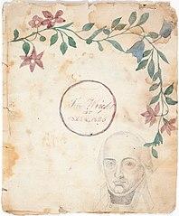 4-lehtinen piirustuskirja, jossa lapsuuden aikaisia enimmäkseen kukka-aiheisia maalauksia