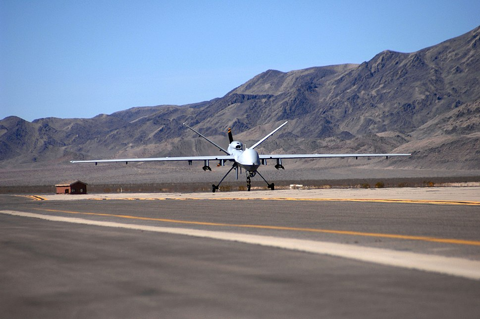 First MQ-9 Reaper taxies at Creech AFB 2007