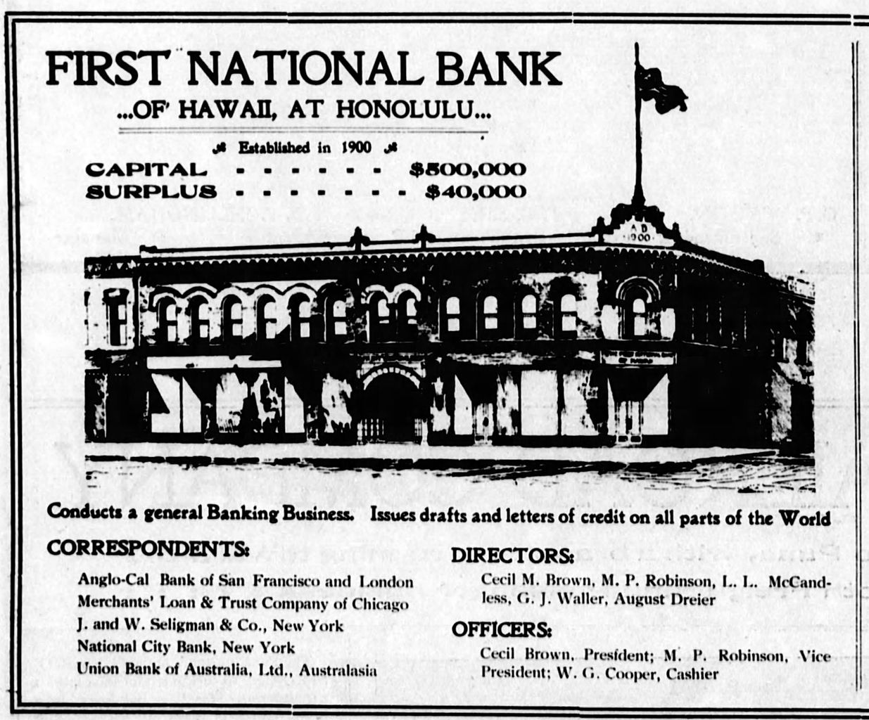 File First National Bank Of Hawaii At Honolulu Ad 30 Nov