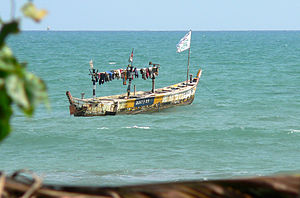 Traditional fishing boat in the atlantic ocean...