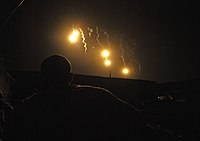 Flares fired by M777 howitzers to illuminate during Operation Tora Arwa V in the Kandahar province Aug. 2 2009