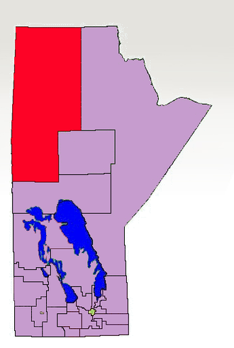 Flin Flon (electoral district) - 1998-2011 boundaries for Flin Flon highlighted in red