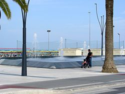 "Fountains on the ""Roseto sea promenade"""