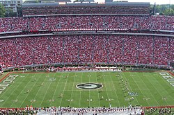 Football game kickoff (Georgia vs South Carolina), Sanford Stadium, September 2007.jpg
