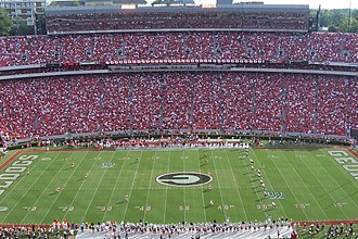 Sanford Stadium - Image: Football game kickoff (Georgia vs South Carolina), Sanford Stadium, September 2007