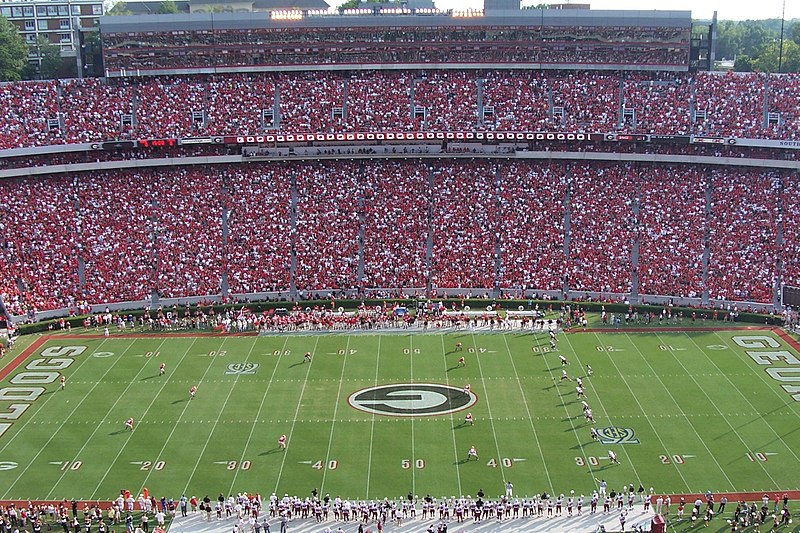 File:Football game kickoff (Georgia vs South Carolina), Sanford Stadium, September 2007.jpg
