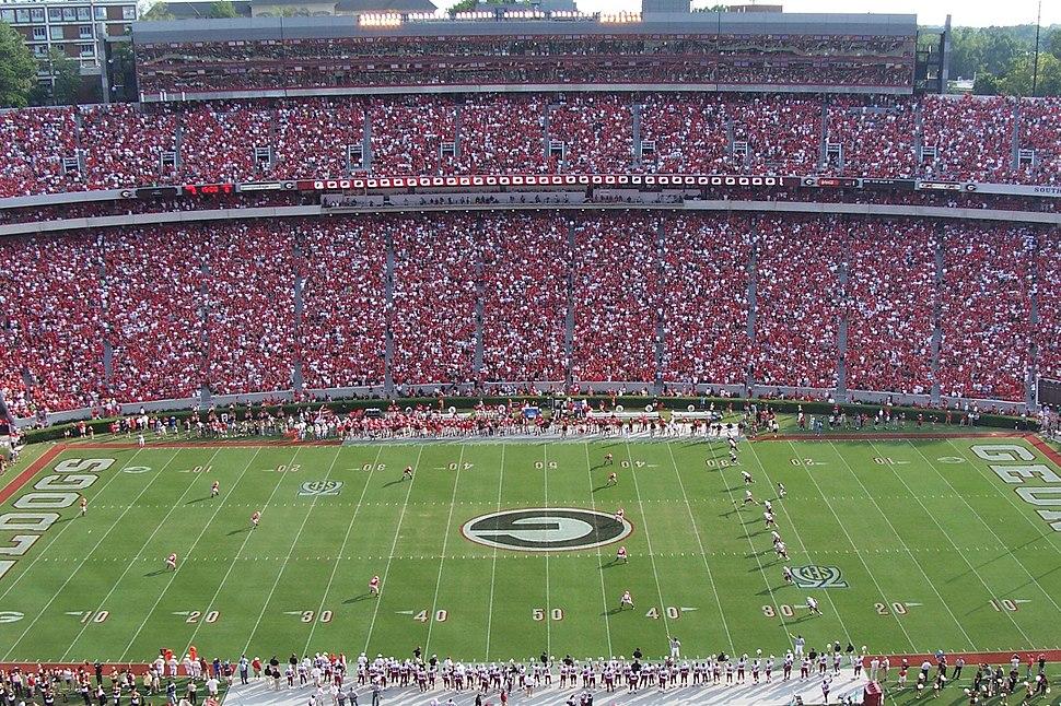 Football game kickoff (Georgia vs South Carolina), Sanford Stadium, September 2007