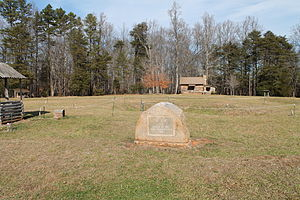 Fort Dobbs (North Carolina) - The Fort Dobbs site, facing towards the visitor's center; the area delineated by white rope marks the layout of the original structure