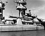 Forward superstructure and aircraft catapult of USS Alaska (CB-1) circa 1945.jpg