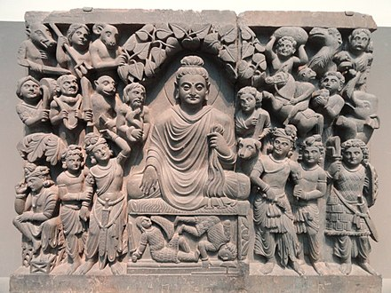 Enlightenment of Buddha, Kushan dynasty, late 2nd to early 3rd century CE, Gandhara. Four Scenes from the Life of the Buddha - Enlightenment - Kushan dynasty, late 2nd to early 3rd century AD, Gandhara, schist - Freer Gallery of Art - DSC05124.JPG