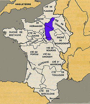 West Francia - Royal lands (in blue) by the end of the 10th century