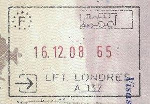 Juxtaposed controls - Image: France LFT Londres passport stamp