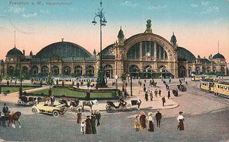 Frankfurt (Main) Hauptbahnhof - A postcard image of the Hauptbahnhof circa 1915