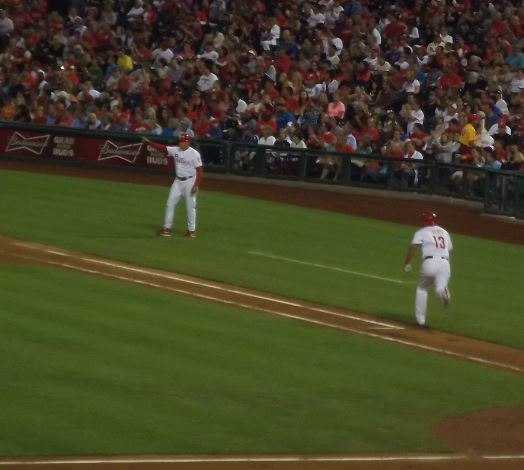 Freddy Galvis running to first base