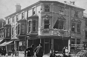 Bombardment of Yarmouth and Lowestoft - A damaged street in Lowestoft, following the bombardment of the town.