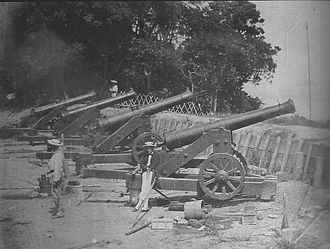 Shimonoseki Campaign - French Navy troops taking possession of Japanese cannons at Shimonoseki.