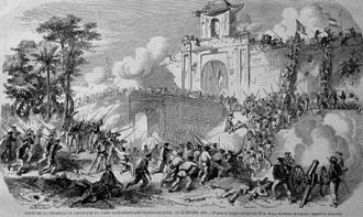 Ho Chi Minh City - A French drawing of the French Siege of Saigon in 1859 by joint Franco-Spanish forces