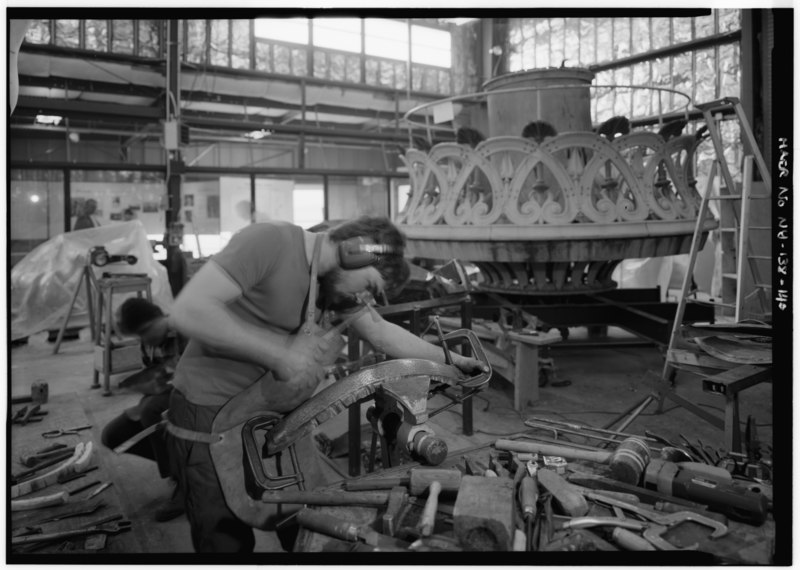 File:French craftsmen fabricating part of torch balustrade by beating copper over a positive or negative form, October 14, 1985 - Statue of Liberty, Liberty Island, Manhattan, New HAER NY,31-NEYO,89-140.tif