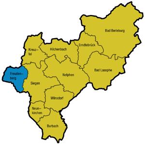 Freudenberg, Westphalia - Town's location in Siegen-Wittgenstein.