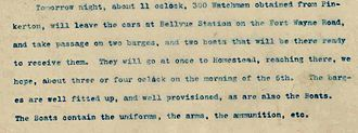 Pinkerton (detective agency) - Frick's letter describing the plans and munitions that will be on the barges when the Pinkertons arrive to confront the strikers in Homestead