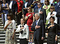 From left, First Lady Michelle Obama, Brenday Linnington, wife of Army Maj. Gen. Michael S. Linnington, Secretary of Defense Chuck Hagel and his wife Lilibet place their hands over their hearts as President 130527-D-NI589-807.jpg