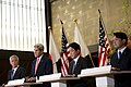 From left, U.S. Secretary of Defense Chuck Hagel, U.S. Secretary of State John Kerry, Japanese Minister of Foreign Affairs Fumio Kishida and Japanese Minister of Defense Itsunori Onodera hold a press conference 131003-D-BW835-895.jpg