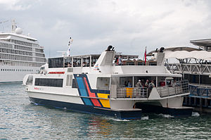 Fullers Starflyte ferry arriving at Pier 3 in Auckland.jpg