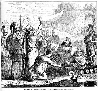Battle of Coronea (394 BC) - Funeral rites after the Battle of Coroneia