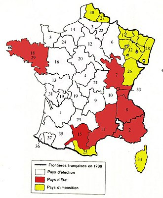 "Généralité - The 36 Généralités in France in 1789 by city (and province).  Areas in red are ""pays d'état"" (note: should also include 36, 37 and parts of 35); white ""pays d'élection""; yellow ""pays d'imposition"""
