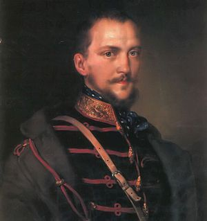 Battle of Schwechat - Artúr Görgey was promoted to General after his actions in the battle. He also became the leader of the army of the Upper Danube. (Painting by Miklós Barabás)
