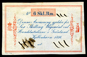 Greenlandic rigsdaler - Greenland, 6 skilling rigsmønt (1856), the only year this denomination was used. Unsigned remainder.