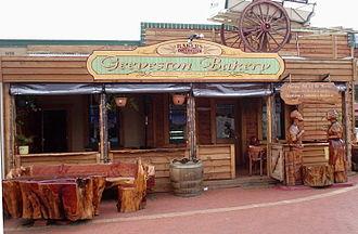 Geeveston - Geeveston bakery with wood carvings