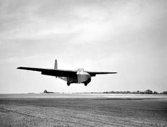 M22 Locust - A Hamilcar Mark I glider in flight. Hamilcars were used to transport the Locust into battle.