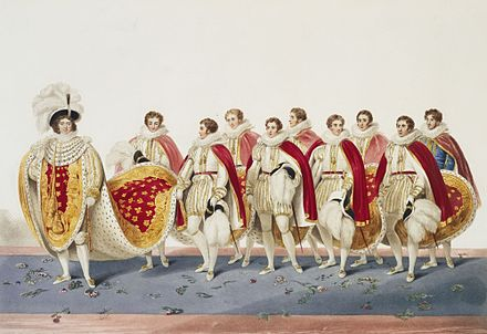 George IV's long train was borne by the Master of the Robes and eight eldest sons of peers. The king (left) found the enormous weight of the robes very inconvenient. George IV coronation.jpg