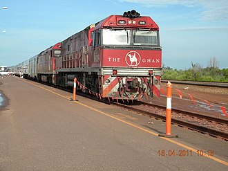 The Ghan - The Ghan, led by Pacific National NR74 at Darwin station